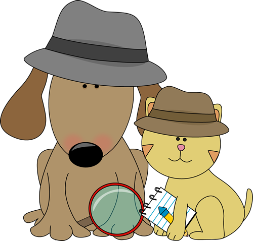 graphic transparent Mystery clipart dog. Detective and cat from.