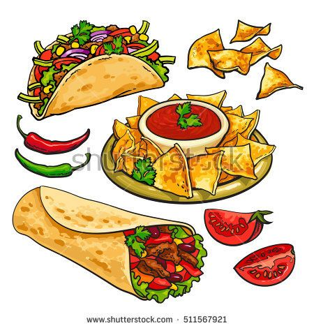 picture royalty free download Set of traditional mexican. Nachos clipart vector.