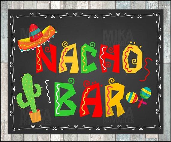 image stock Nacho clipart party. Printable bar sign taco.