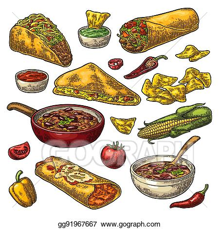 jpg stock Nachos clipart meal. Vector mexican traditional food.