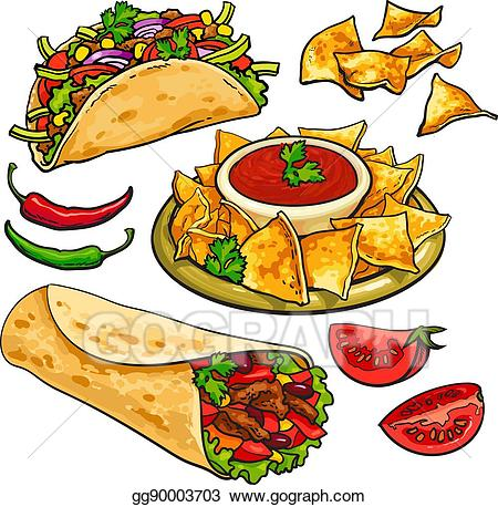 banner stock Tacos clipart burito. Vector set of traditional
