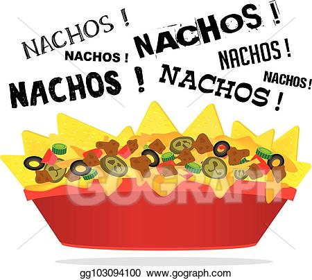 clipart transparent library Nachos clipart vector. Stock loaded cheese nacho.