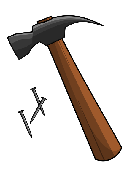 graphic transparent stock Hammer and clip art. Nails clipart