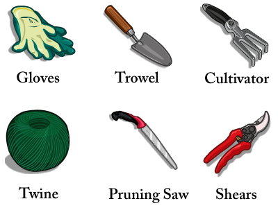 banner black and white stock Garden tools names plants. Name clipart gardening tool.