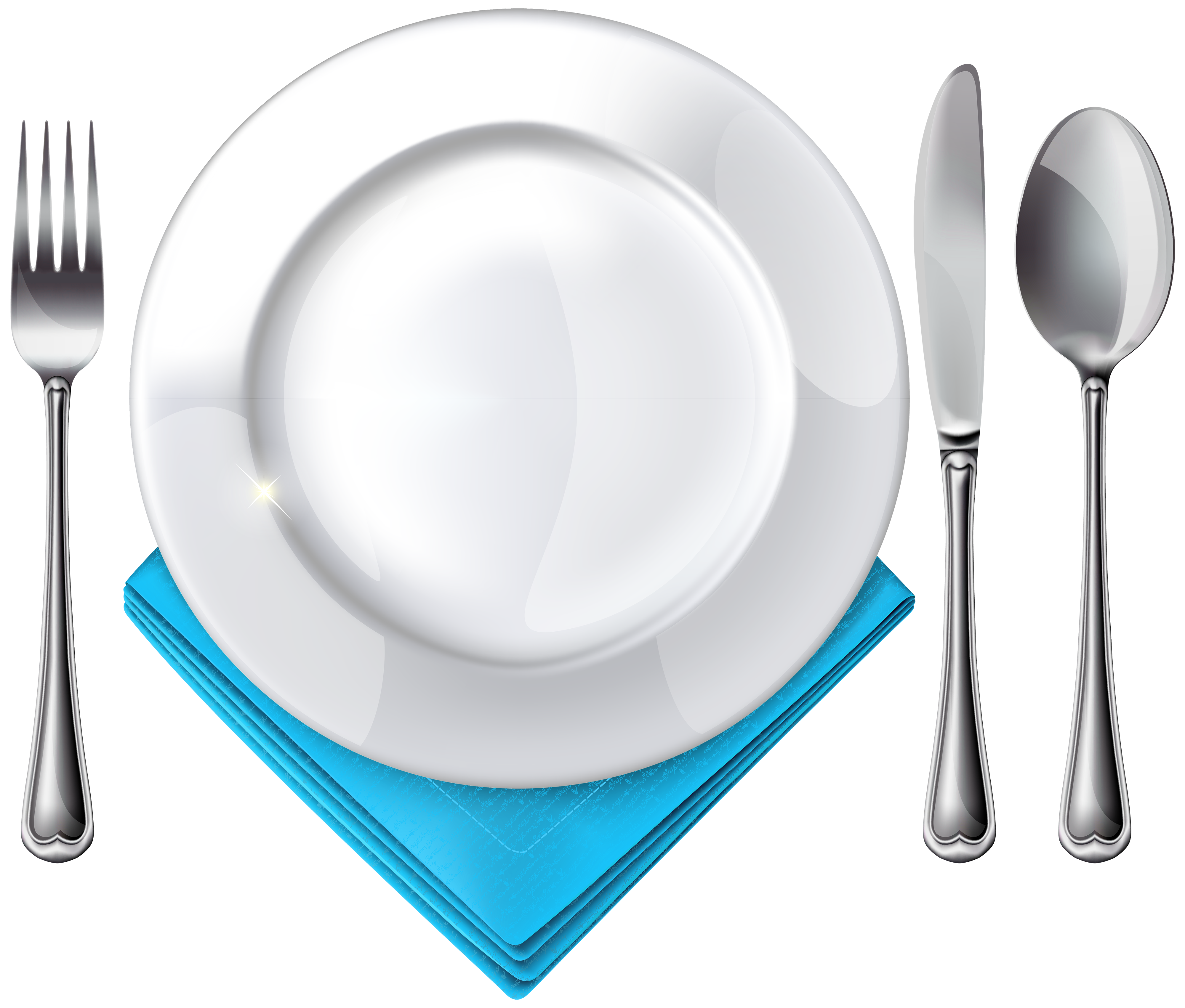 image freeuse Plate spoon knife fork. Napkin clipart
