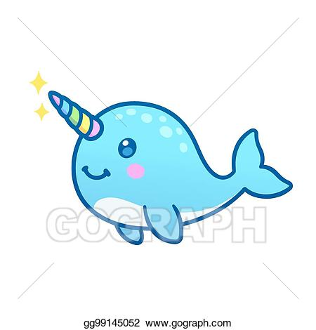 picture transparent Narwhal clipart cute. Vector stock cartoon illustration.