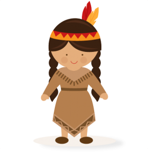vector black and white stock Thanksgiving girl svg scrapbook. Native american clipart.