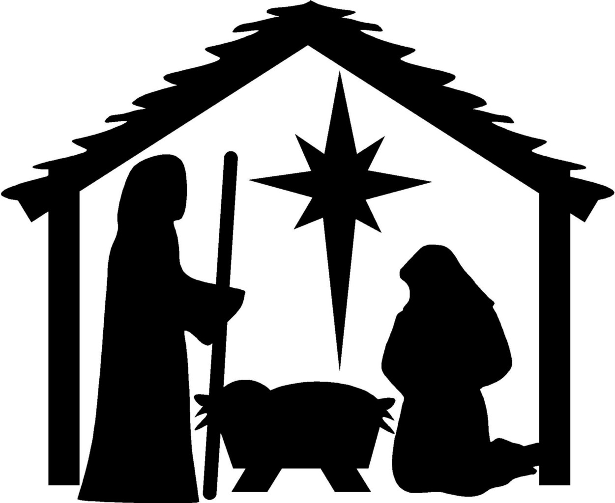 image free Free black cliparts download. Nativity clipart.