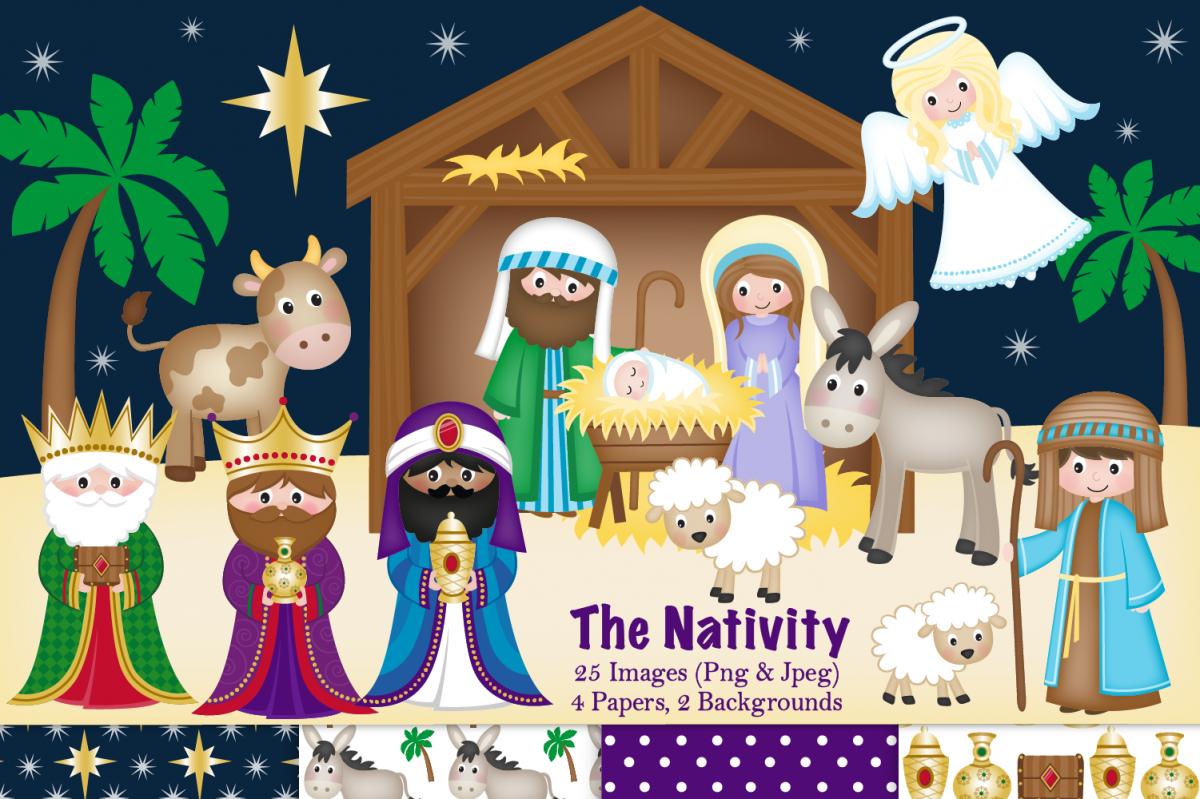 clip royalty free library Nativity clipart. Christmas scene