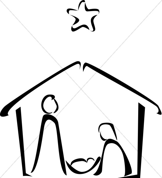 svg stock Nativity sketch . Manger black and white clipart.