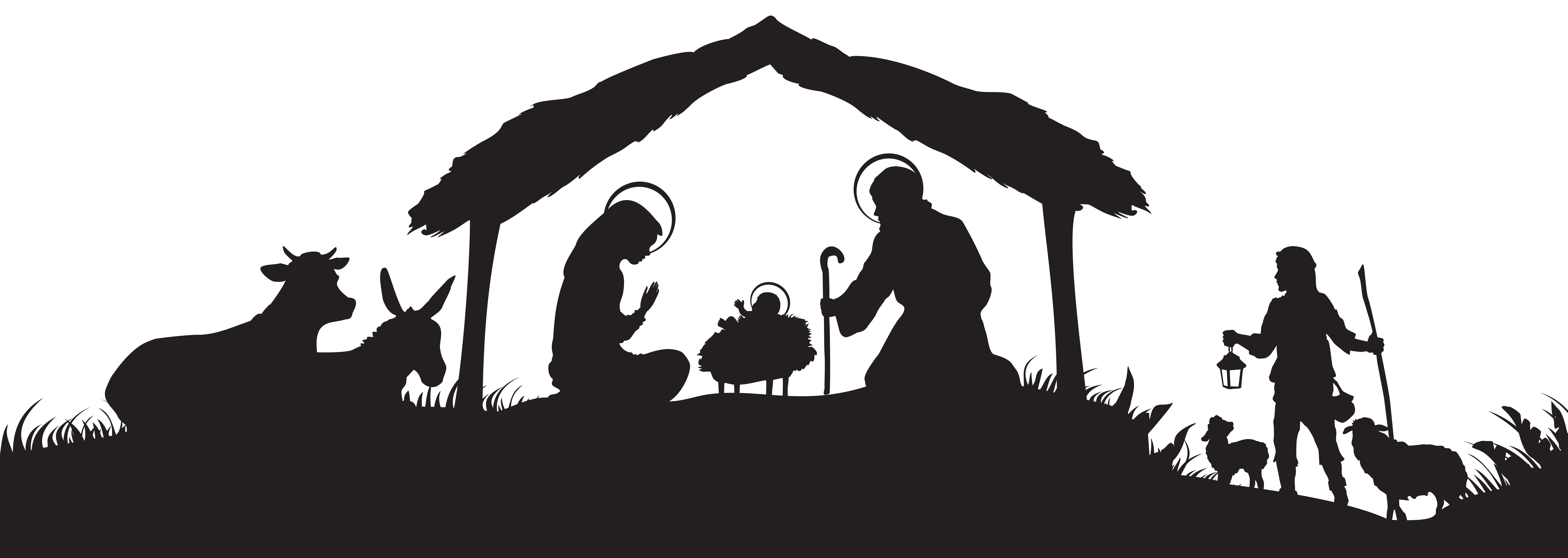 png freeuse library Christmas scene silhouette png. Nativity clipart season.