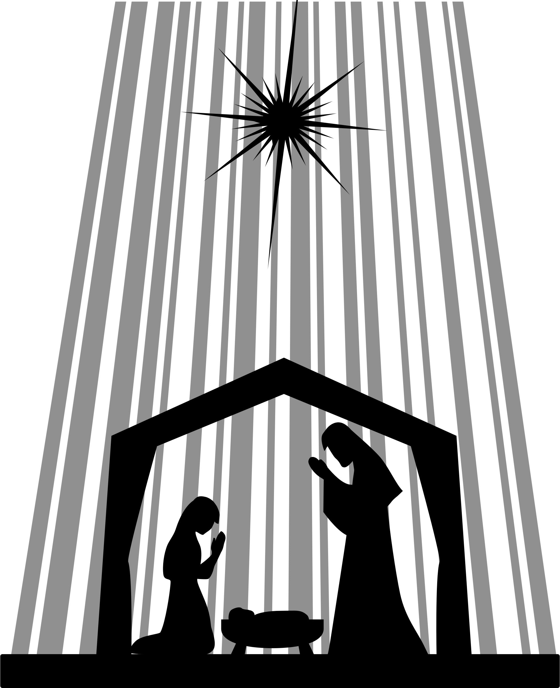 image black and white stock Baby in a manger clipart. Nativity silhouette big image.