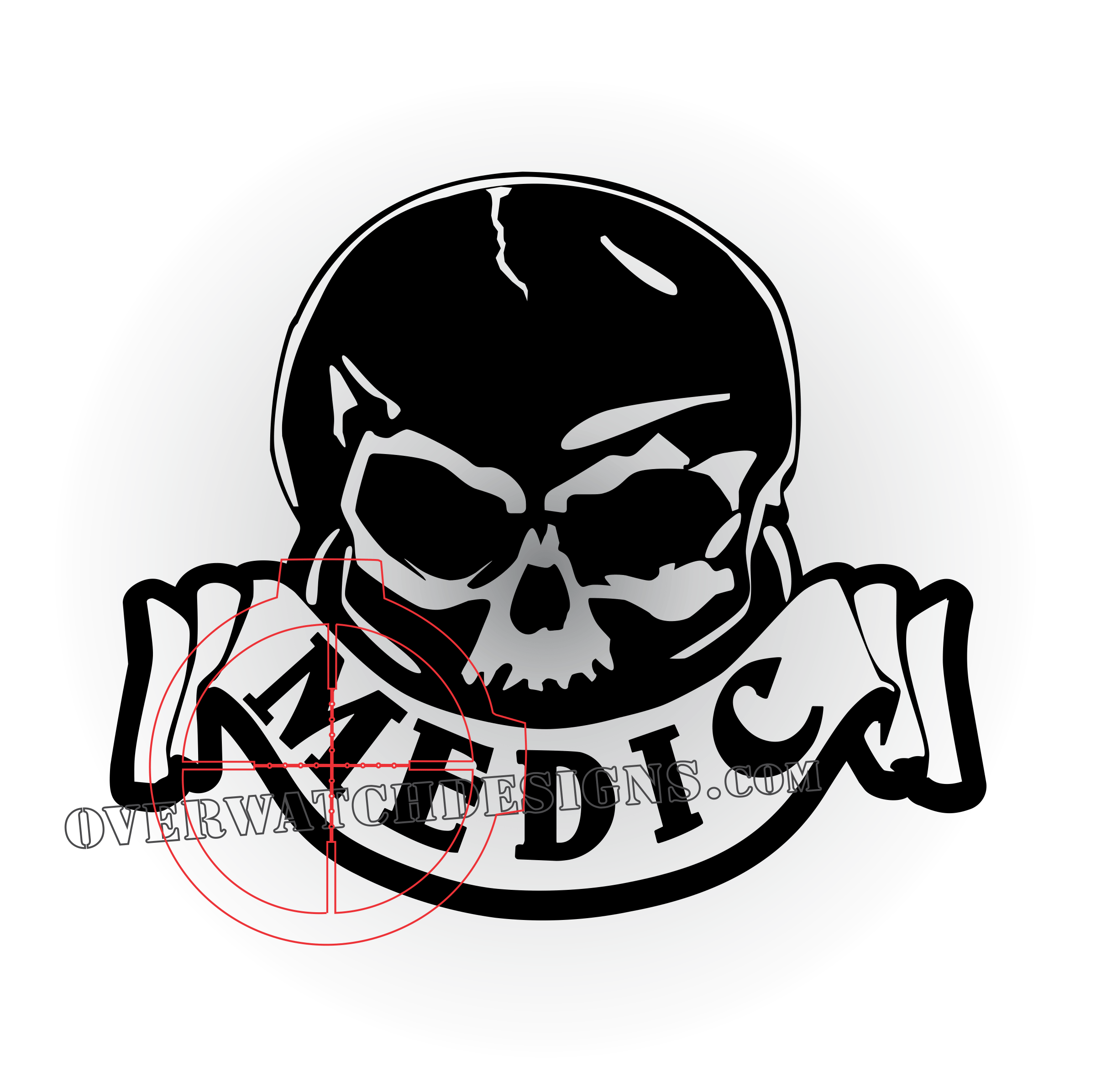 image download Usa drawing skull. Medic decal with scroll