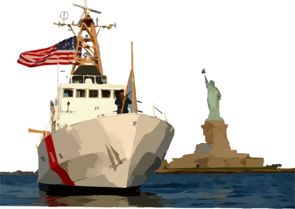 royalty free stock Navy clipart frigate. Ship sailing beside statue.