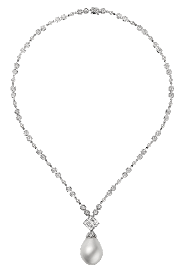 jpg free library Diamond with pearl png. Necklace clipart.