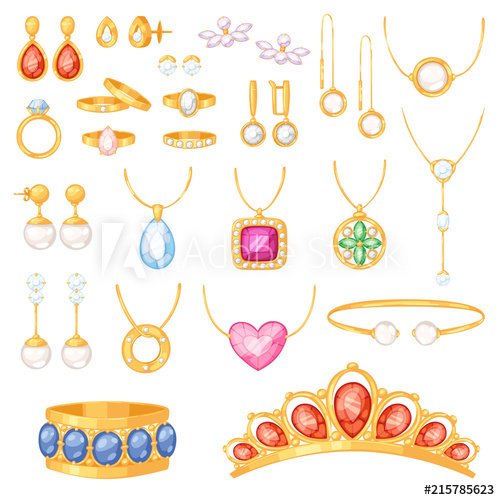 free Jewelry vector jewellery gold bracelet necklace earrings and
