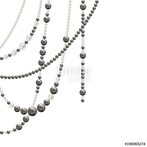banner transparent stock Necklace vector bead. Pearl jewelry decoration illustration