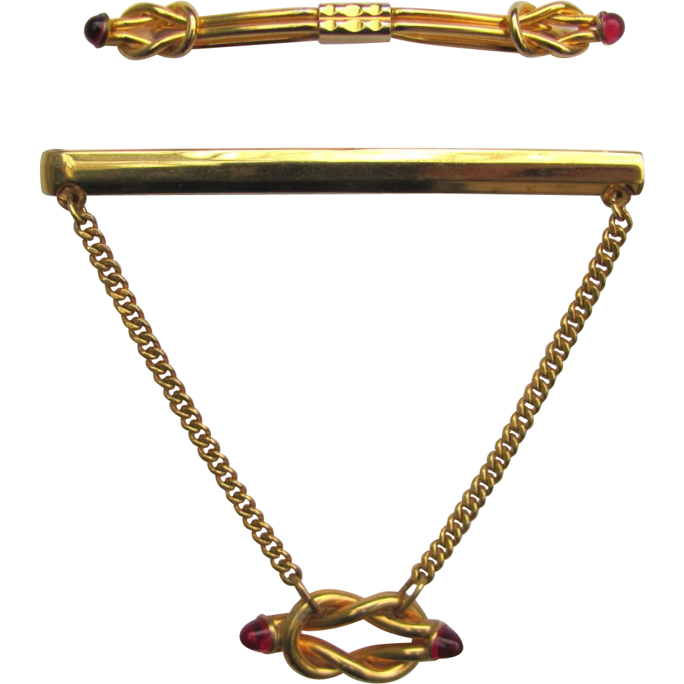 download Vintage Chain Tie Bar and Collar Stay Clip with Knot Design and Red