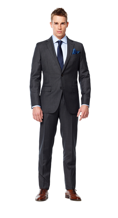 banner Charcoal Gray Pin Stripe Suit with Navy accent
