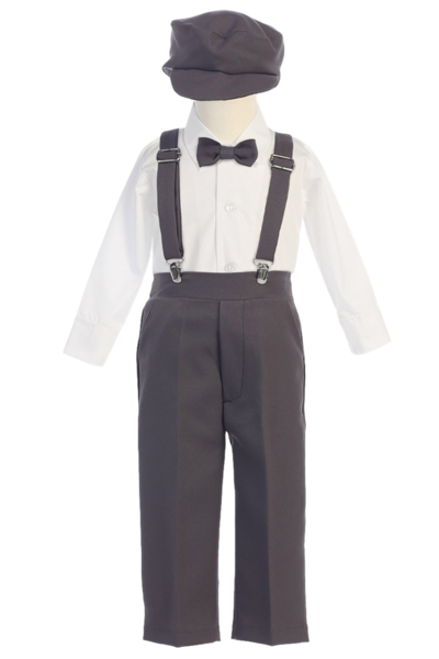 free Boys Charcoal Grey Long Sleeve Suspender Pant Set with Hat