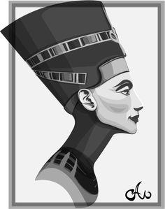 graphic black and white library nefertiti vector wallpaper #138201194