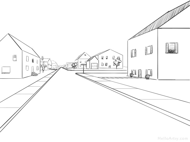 download One point perspective step. Drawing perspectives road