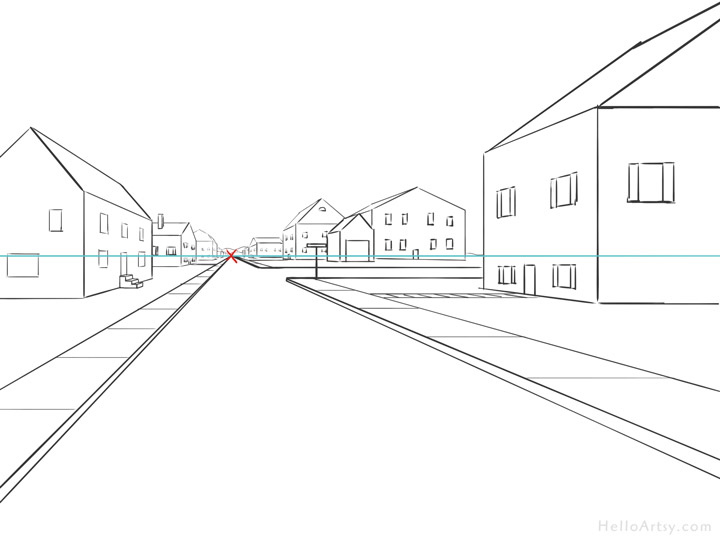 banner black and white stock One point perspective step. Drawing perspectives street