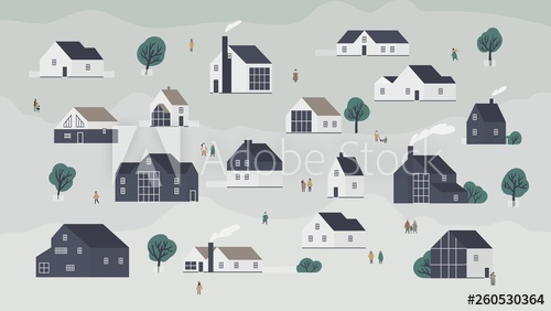 royalty free library Banner with different houses in Scandic style or cottages of