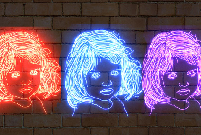 clip art freeuse stock Neon drawing. Draw your avatar