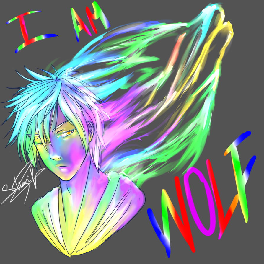free Neon drawing. L am wolf by