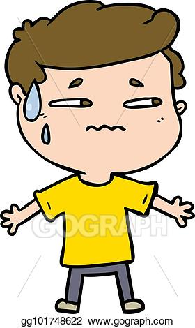 svg transparent stock Vector cartoon man illustration. Nervous clipart anxious.