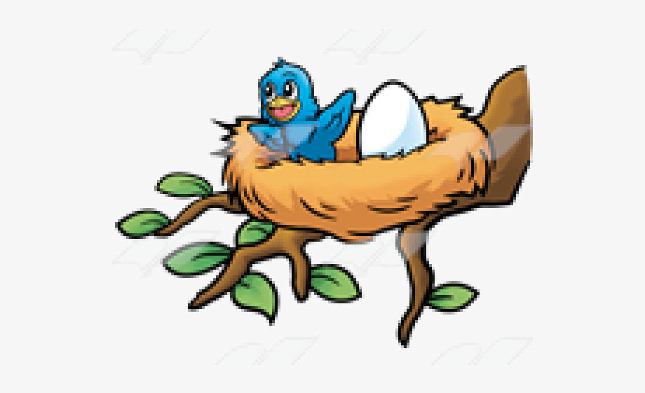 jpg black and white library Baby bird black and. Nest clipart.