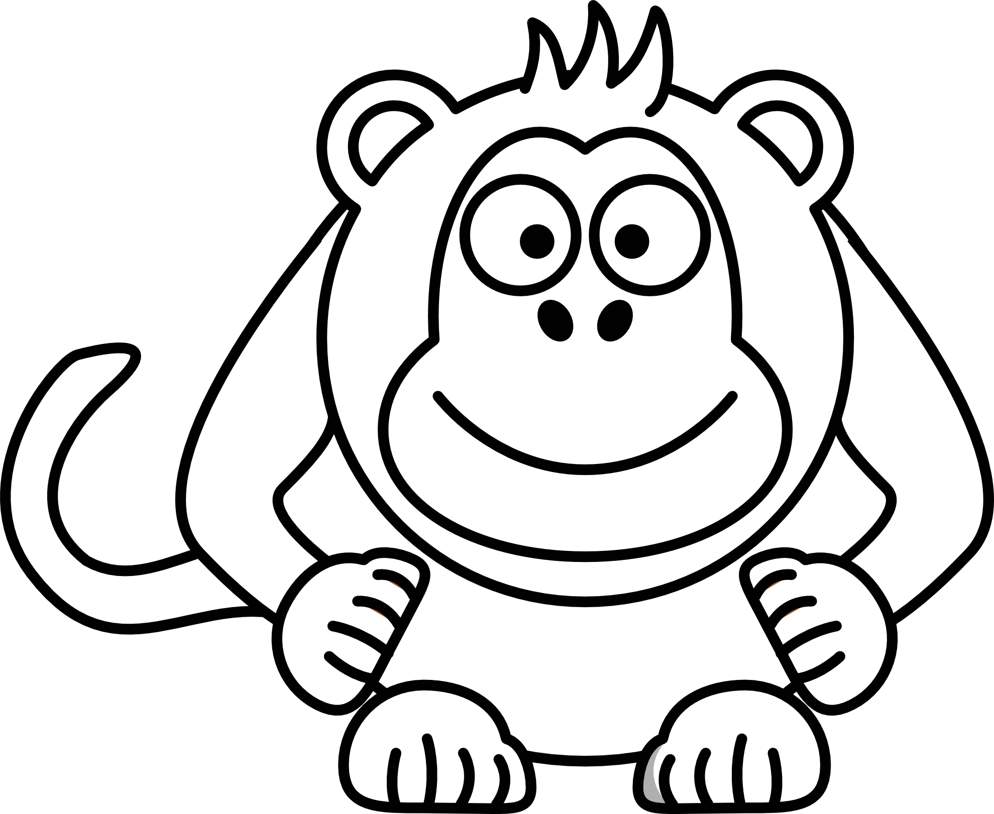 jpg library Coloring pages monkeys. Drawing printables cartoon