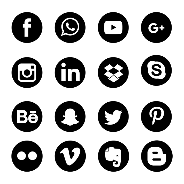 clipart transparent library Social media icons set. Network vector.
