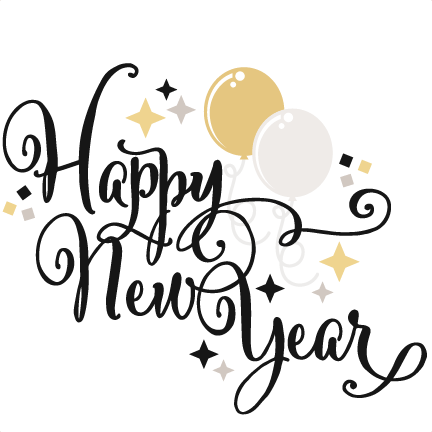 graphic black and white library Happy New Year SVG scrapbook title balloons svg cut files free svgs