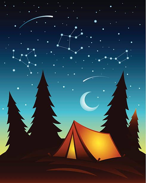 picture freeuse library Royalty free camping tent. Night clipart.