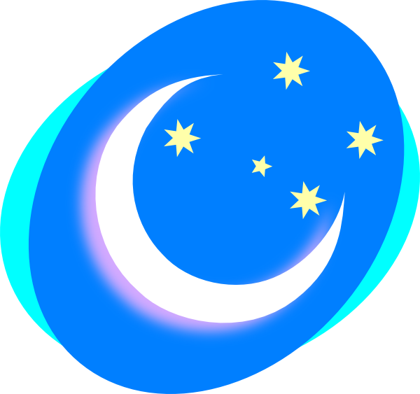 banner royalty free library Crescent With Stars Clip Art at Clker