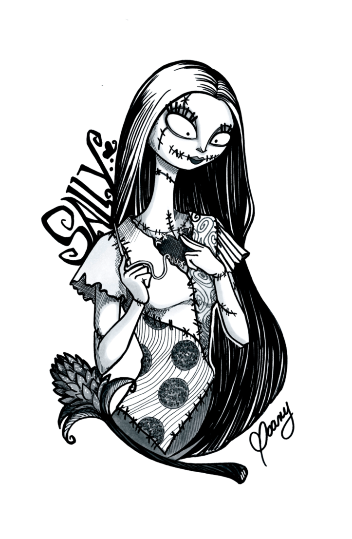 clip art freeuse library Sally drawing nightmare before christmas. Picture free download inktober
