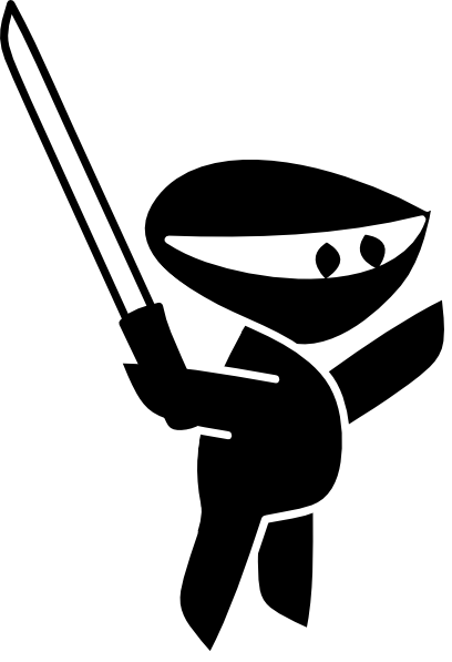 image royalty free Kid ninja clipart. Black white sword boy
