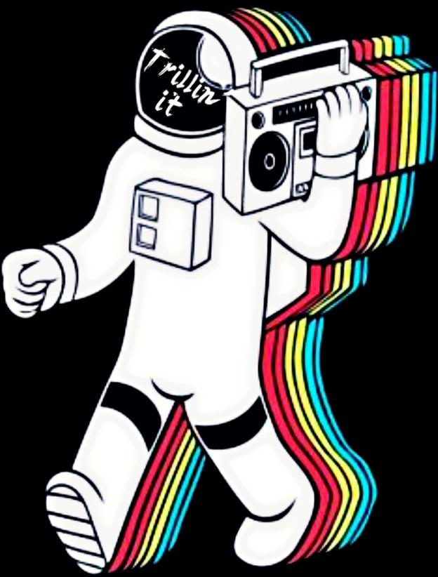 clip black and white trippy trill astronaut