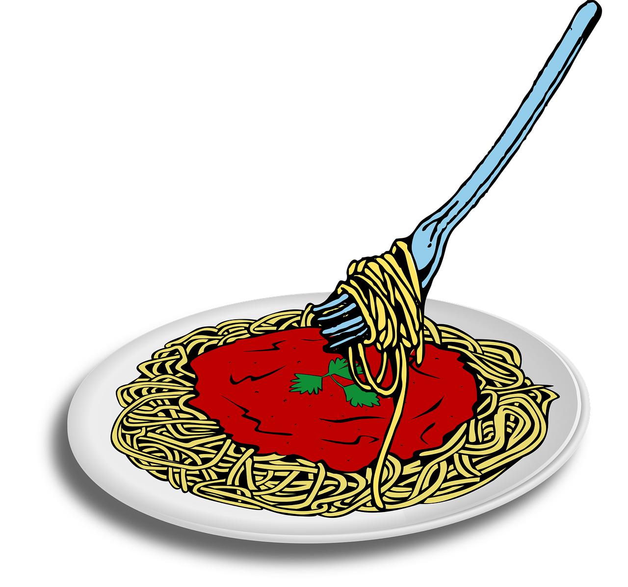 banner freeuse Pasta spaghetti with meatballs. Noodles clipart.