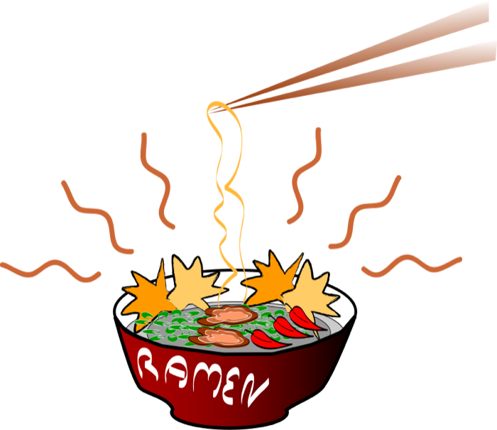 black and white Japanese Noodles Clipart