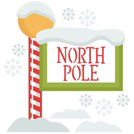 black and white North pole clipart. Christmas sign svg clip