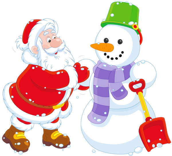 clip black and white Transparent Santa and Snowman PNG Clipart