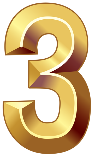 banner royalty free library Gold three png image. Number clipart