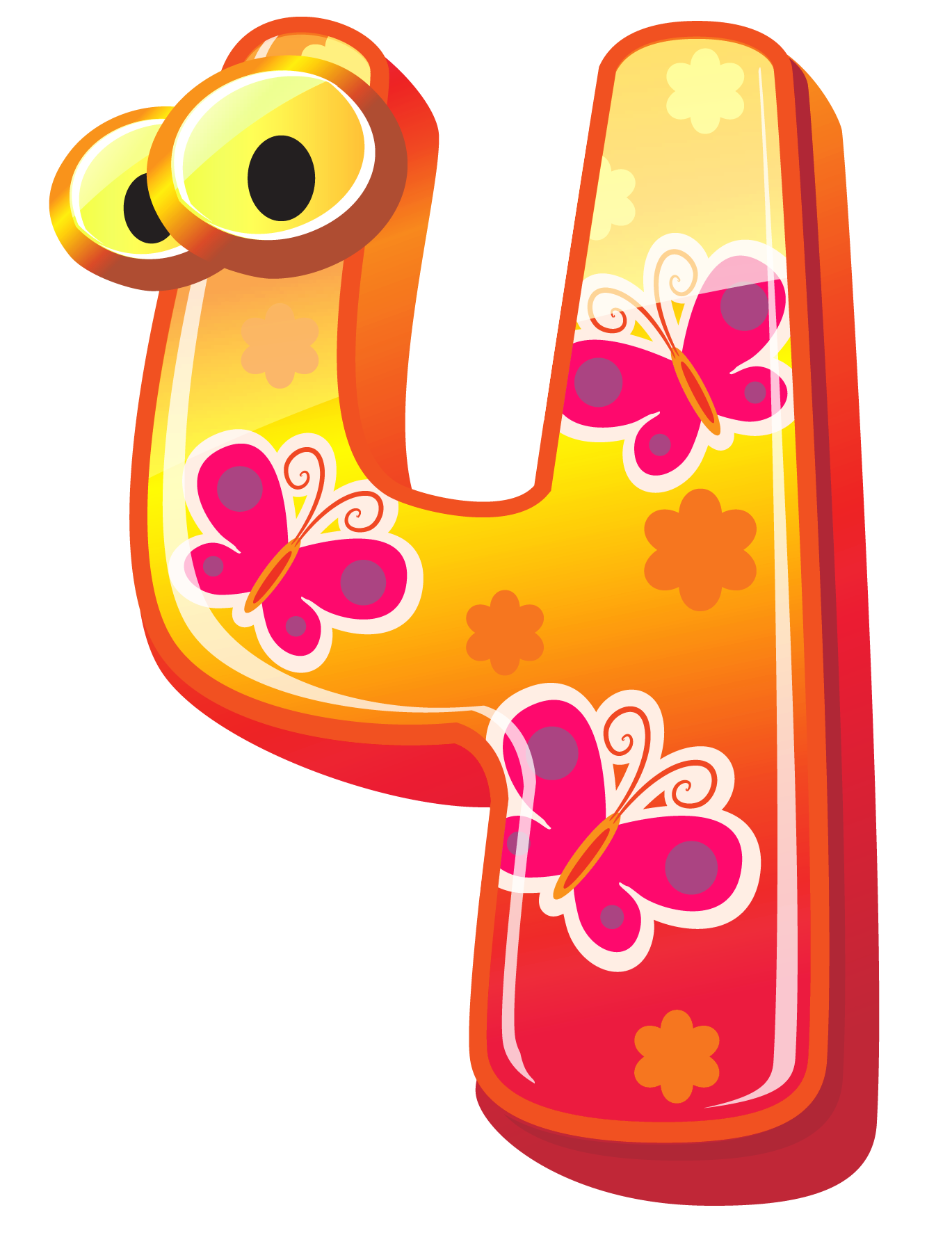 image royalty free library Cute four png image. Number clipart