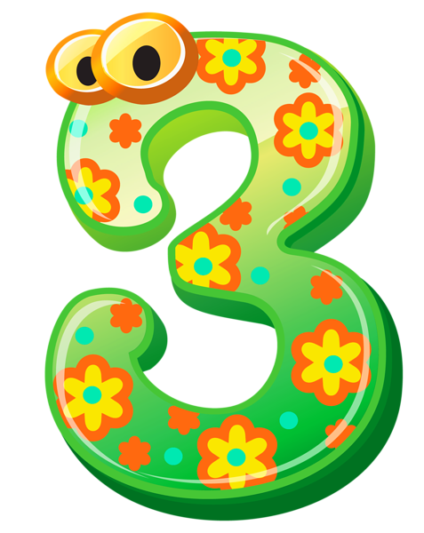 clipart royalty free library Cute Number Three PNG Clipart Image