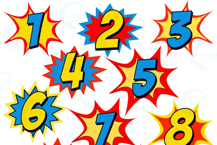 picture royalty free Starburst illustrations creative . Numbers clipart