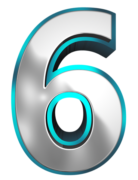 transparent Metallic and Blue Number Six PNG Clipart Image