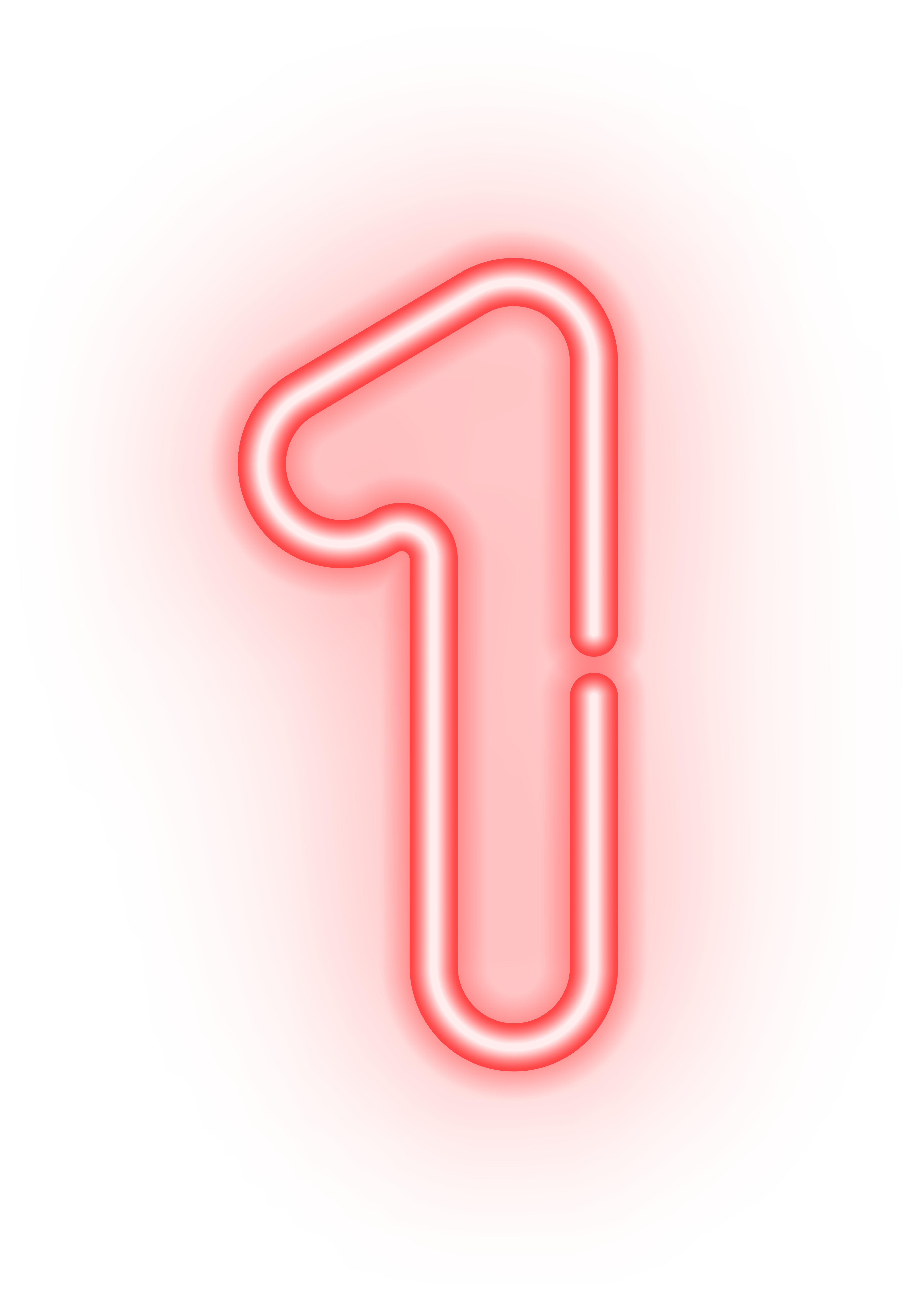 image Numbers transparent. Number one neon png.